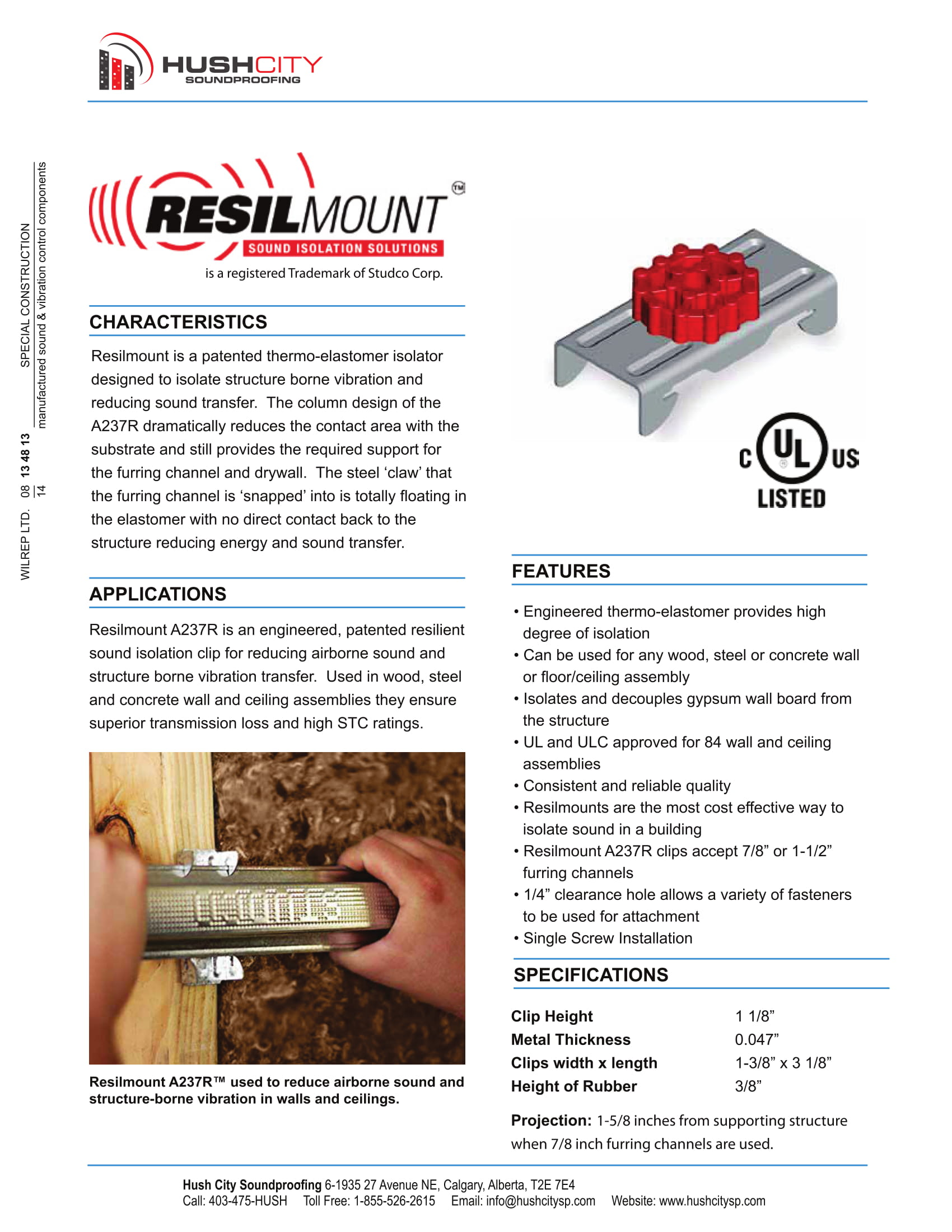 Resilmount A237R - Metal Furring Channel Resilient Sound Clip