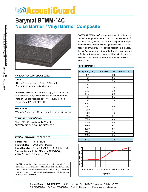 Barymat Btmm 14c Noise Barrier Vinyl Barrier Composite