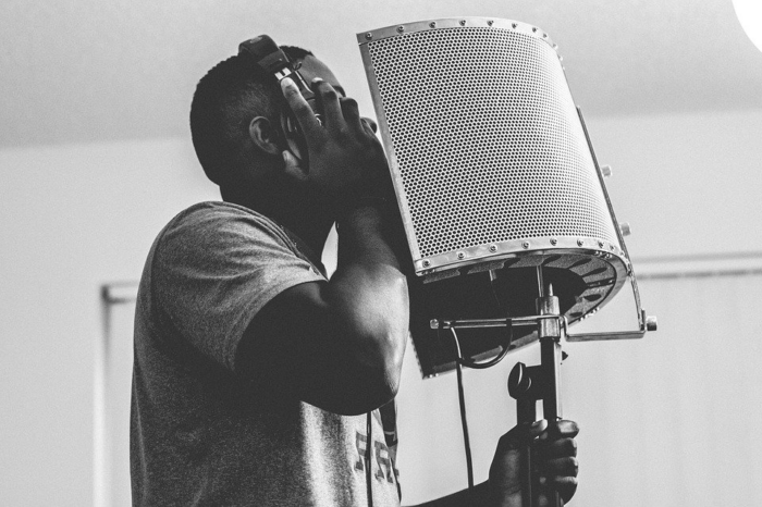 man photographed during a recording session