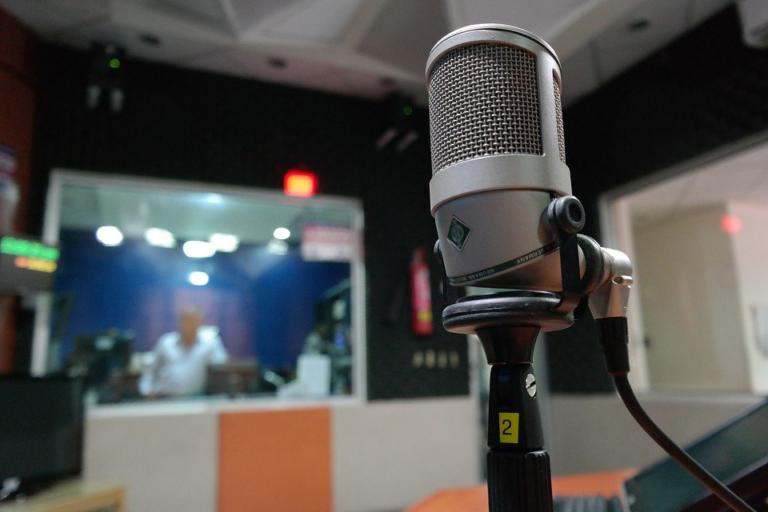 glimpse inside a professional recording studio