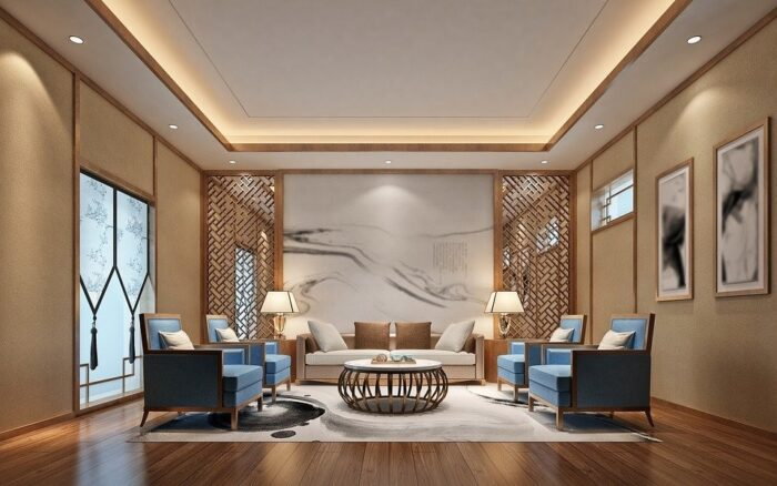 A living room with ceiling and lighting