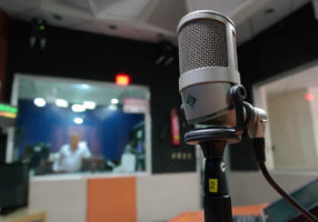 glimpse inside a professional recording studio